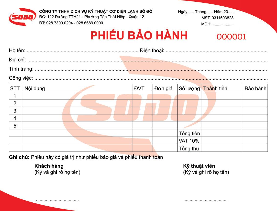 in phiếu bảo hành giá rẻ tại Đà Nẵng