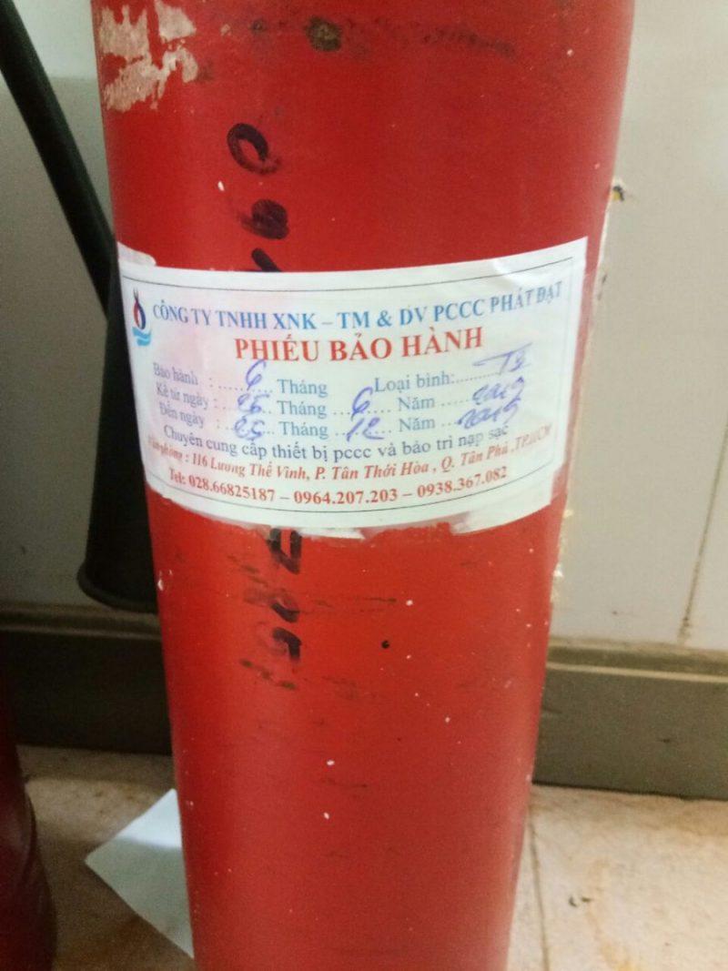 tem bảo hành bình chữa cháy